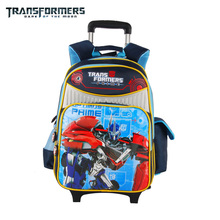 Transformers cartoon trolley/wheels children/kids school bag books rolling backpack with detachable for boys grade/class 1-4