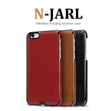 NILLKIN Brand N-JARL Qi Wireless Charging Receiver for iPhone 6 6S Imported Lithci texture leather + PC Phone Case and Charger