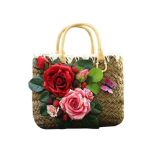 26x20CM  Summer Retro Handbag Handwashing Ladies Bag Flowers Vacation Seaside Beach Bag Straw Bag   Woven Bag A4162