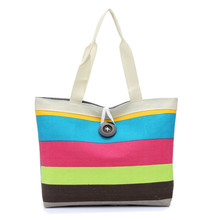 Indira 2017 New Fashion Women Lady Colored stripes Shopping Bag Canvas Bags Purse Wholesale(China)