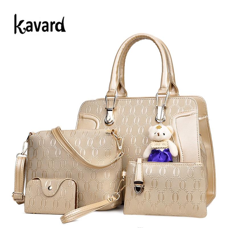 2017 New Handbag Women Bag Set Luxury Handbags Women Bags Designer Shoulder Crossbody Bag for Woman Purses and Clutch 4 Pcs/Set<br>