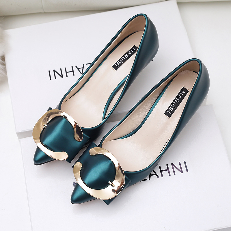 New Autumn Spring Women Pumps Metal Buckle Pointed Thin Low High Heels Shoes Female Sexy Elegant High-heeled Shoes G10856-2<br><br>Aliexpress