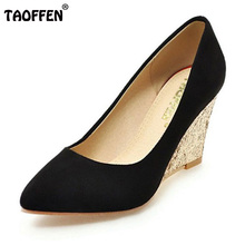 TAOFFEN 4 Colors Size 33-43 Sexy Women High Wedges Shoes Shine Glitter Pointed Toe Shoes Wedges Pumps Party Club Wedding Shoes(China)