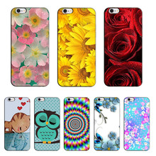 for Apple iPhone 7 Mobile Phone Bags & Case Hot Selling Cat Rose Flower Painting Soft Silicone Case for Apple iPhone 7 Cover(China)