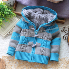Free shipping New Arrival Baby winter Sweater Boys and Girls Hooded Sweaters cool Stripe Fleece lining Children Sweaters