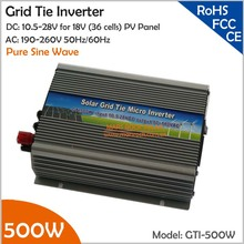 500W 18V Grid Tie Inverter, 10.5-28V DC to AC 190-260V Pure Sine Wave Inverter Suitable for  hybrid wind solar power system