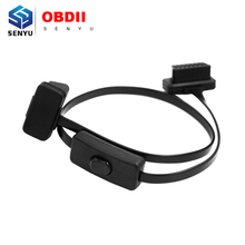Free Shipping OBD II extension cable with switch Flat Thin As Noodle 16PIN OBD2 Cable with Switch Type Aut Scanner Connector