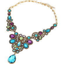 Match-Right Multicolor Crystal Bubble Bib Necklaces & Pendants Women Cabochon Necklace Pendant Summer Jewelry For Gift Party(China)