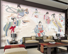 Beibehang photo wallpaper  Chinese Seven Fairy Ancient Ladies Makeup  Living Room Bedroom TV Background wallpaper for walls 3D