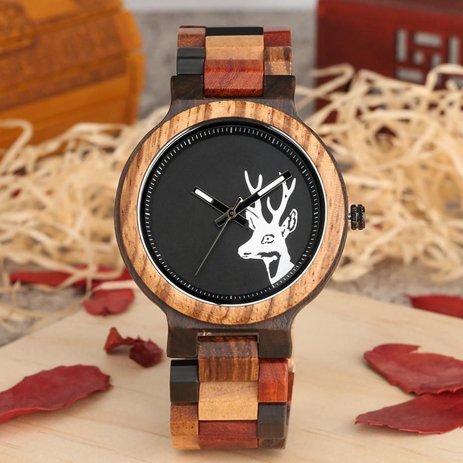 Unique Mixed Color Wood Watch Men Creative Deer Head Elk Clock Man Retro Full Wooden Wrist Quartz Watch Top Luxury Men\`s Watches 2018 2019 (7)