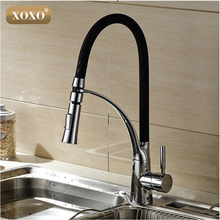XOXOBlack Chrome Finish Kitchen Sink Faucet Deck Mount Pull Dual Sprayer Nozzle Hot Cold Mixer Water Taps83013 - XOXO Official Store store
