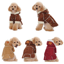 Buy Fashion Winter Warm Dog Coat Suede Fabric Puppy Jacket Outfit Soft Hooded Clothing Dogs Clothes Pet Supplies E2S for $5.99 in AliExpress store