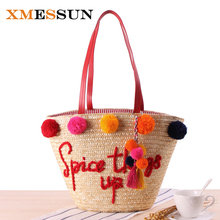 XMESSUN 2017 Colorful Ball Large Beach Bags Luxury Designer Straw Bag Women Handmade Pom Pom Handbags Summer Travel Bag C97(China)
