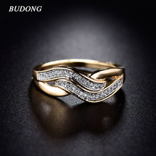 BUDONG Women Infinity Ring Valentine Day Fashion Love Band Gold-Color Ring Cubic Zirconia Wedding Accessories Jewelry XUR227(China)