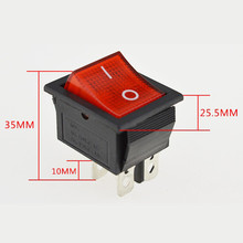5pcs/lot Red Lamp Light Rocker Switches 4 Pin ON/OFF 2 Position Boat Rocker Switch 16A/250V(China)