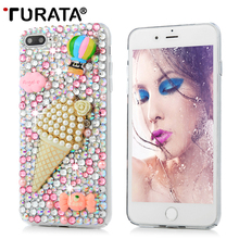 3D Bling Glitter Crystal Rhinestone Ice Cream PC Transparent Back Cover Case For iphone 5 5S SE 7 Plus Capa Funda Carcasas T3(China)