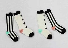 DHL EMS Free Shipping Wear Lovely Baby Girls Black White Stripe Star Knee High Socks Children Leg Warmers Baby Socks infant
