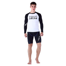 SABOLAY Men Long Sleeve Rashguards Surf Top Swimsuit Rash Guard Sunscreen Swimming Shirt Tops Diving Short Pants