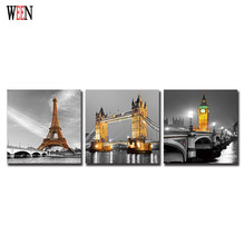 WEEN Famous Building Eiffel Tower Canvas Printing Wall Artwork London Bridge Big Ben Clock Tower Print on Canvas With Framed Art