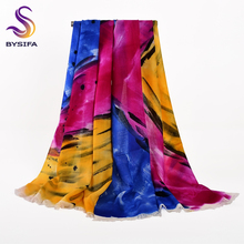 [BYSIFA] Winter Wool Scarves Wraps Women Chinese Hand Painted Long Wool Shawl Scarf Blue Pink Yellow Cashmere Scarves 180*70cm(China)