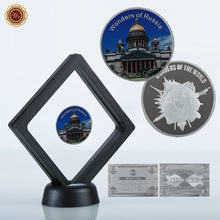WR Russia Saint Isaac's Cathedral Pure Silver Challenge Metal Coin with Plastic Display Stand for Home Decoration Best Gift