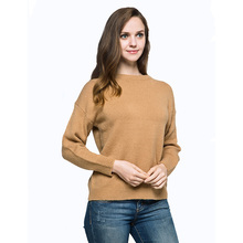Spring Autumn Wool Knitted Pullover Sweater Jumper Women's Clothing O-Neck Drop Shoulder Elasticity Coat Loose Jersey