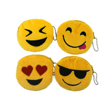 Hot on Sales Novelity Emoji coin purses kids Plush ladies small wallet bag key case women handbag Card Holders Gift For Children(China)
