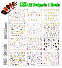 Nail Art Decal(Large Piece YB553-564 12 DESIGNS IN 1)Mixed Cartoon Cat Hello Kitty Nail Art Water Transfer Sticker For Nail
