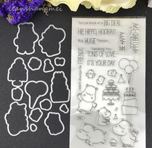 Hippo Metal Cutting Dies and stamp Stencils for DIY Scrapbooking/photo album Decorative Embossing DIY Paper Cards Making Proj(China)