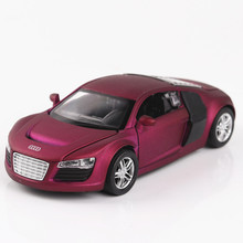 Matte Simulation Mini Metal Toy 1:32 Scale Sports Car Pull Back 4 Doors Can Open with Sound And Light Boys Oyuncak Araba(China)