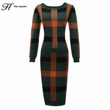 H Han Queen 2 Piece Sets New Sale Women's Tracksuit knitted Pullover Sweaters Winter plaid skirt suits Casual Loose Sweater