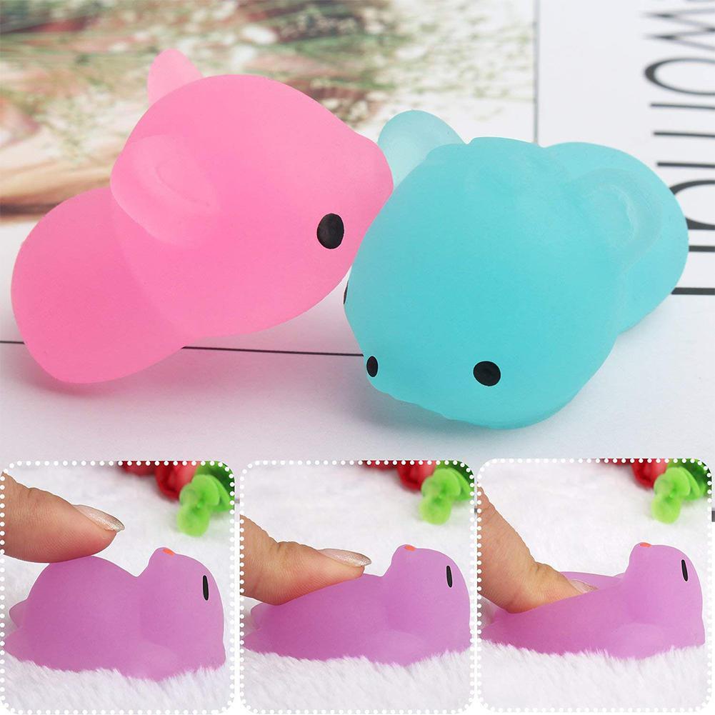 50 pcs Fluorescent Squishy Mochi Squeeze Toys 5