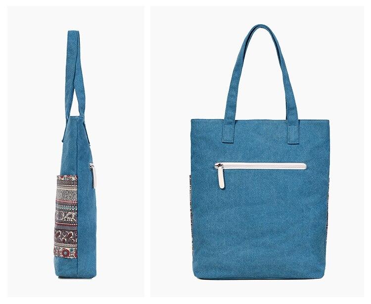 Canvasartisan Brand new canvas women handbags floral vintage female shopping shoulder bag zipper closure tote hand bags 13