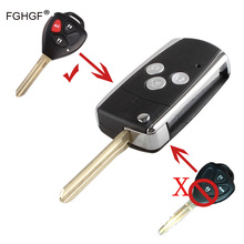 FGHGF Keyless Folding Remote Key Shell Case Fob 3 Button for Toyota Camry Corolla RAV4  WIth LOGO