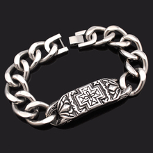 Dolaime Fashion Men's Medical Cross Carved Stainless Steel Retro Bracelet High - quality fine bracelet jewelry accessories GB729