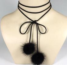 New Leather Choker Necklaces Fur Ball Pendant Tied Bow Short Necklace Double Velvet Choker Sweater Chian For Women Collares Muje(China)