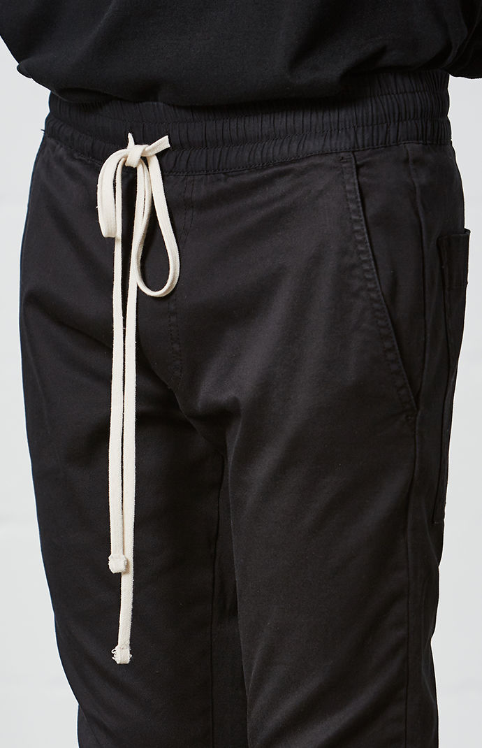 Zippered Ankles Skinny Fit Black Trouser Justin Bieber Elasticized Waist With Long Drawstrings Jogger Pants