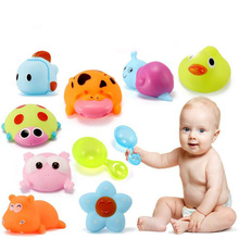 1 Set Soft Plastic Cartoon Small Animal Doll Baby Bathing Squeeze-Sounding Water Toys for Kids Funny Games Intelligence Exercise(China)