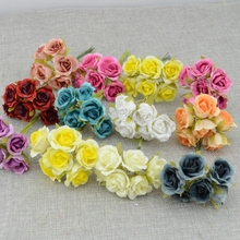 6pcs/lot Simulation Mini Rose Artificial flower garland headdress wedding decoration marriage Bridal Flowers box decoration