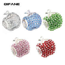 QIFANE 32GB 64G Crystal fruit U Disk Creative diamond pen drive 4G 8G 16G Shiny Metal Jewellery USB Flash Drive memory stick(China)