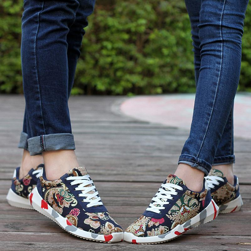 Tenis Shoes zapatillas deportivas mujer Flower Print chaussure homme Designer  Breathable feminino Male Canvas casual shoes<br><br>Aliexpress