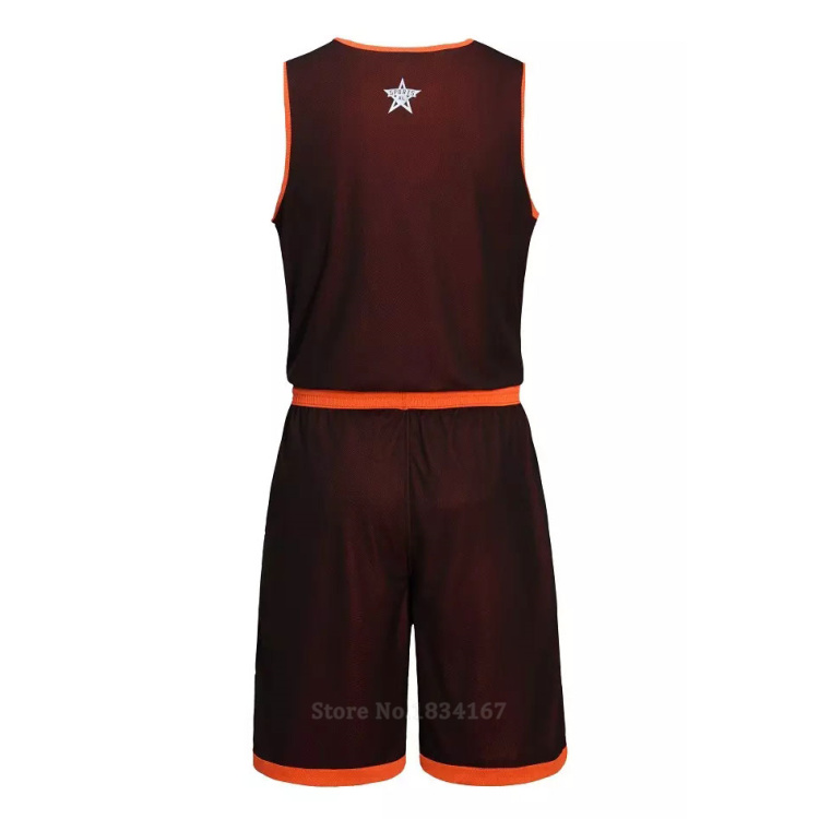 17 Men Reversible Basketball Set Uniforms kits Sports clothes Double-side basketball jerseys DIY Customized Training suits 23