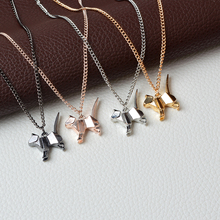 Origami Cat Kitty Pendant Necklace Suspend Creative Minimalist Animal Childlike Rose Gold Silver Black Pensonality Jewelry(China)