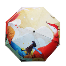 Creative Illustration Red Fox Gir Printing Women Lady Rain Sun Umbrella 3 Folding 8 Rib Wind Resistant Frame Anti UV Umbrellas