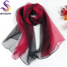 Ultrathin Gradient Women Thin Long Silk Scarf New Design Hand-painted 100% Natural Silk Scarf 180*105cm