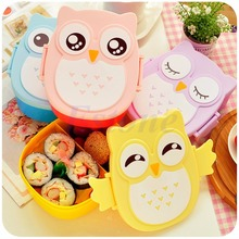 Tableware Food Contain Bento Box Owl Plastic Cute Cartoon Oven Heating For Kids Dropshipping(China)