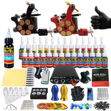 Solong Tattoo Complete Tattoo Kit for Beginner Starter 2 Pro Machine Guns 28 Inks Power Supply Needle Grips Tips TK204-18