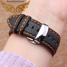 Watch band 18mm 20mm 22mm 24mm 100% Durable Carbon Fiber Fabric Genuine Leather Lining Silver Deployant Watch band strap buckle