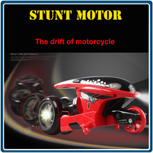 Stunt Remote Control Motorcycle Deformation Vehicle Space Vehicle Drift Light Pack Charging Concept Car 2.4G Flip RC11(8)