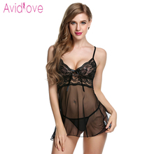Buy Avidlove Lingerie Sexy Erotic Hot Babydoll Dress Women Transparent Floral Lace Night Porn Chemise Underwear Fantasy Sex Clothes